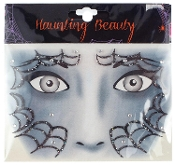 GOTHIC WITCH SPIDERWEB BLACK WIDOW-Stick on Eye Wear Glitter Sequin Tattoo Decal with Spider Web. Eye Shadow Face Art Sticker. Temporary Tattoos Transfer with Faux Rhinestone Gems Makeup Special Effects Cosmetic Accessory, as pictured. Easy removal.