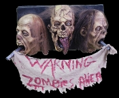 Life Size Realistic Decapitated Severed Heads WARNING ZOMBIES AHEAD Wall Hanging Sign Plaque Halloween Decoration Horror Prop. Horrific hunter trophy cut off undead display for over window, door, den wall. Gruesome walking dead party gothic decor!