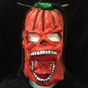 Evil Jack-O-Lantern PUMPKIN MAN Scary Halloween Cosplay Costume HOODED LATEX RUBBER HORROR MASK Creepy Gothic Mardi Gras Masquerade Monster Demon Ghoul Costume Accessory-UNISEX ADULT. Full Over Head Horror Mask Dummy Prop with Attached Costume Hood.