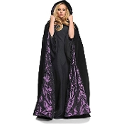 Elegant Medieval DELUXE VELVET EMBROIDERED HOODED CAPE with QUILTED PURPLE SATIN LINING Haunted House Cosplay Halloween Vampire Witch Wiccan Sorceress Stage Theatrical Costume Accessory- 56-inch (140cm) Long