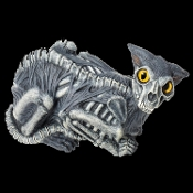 New Life Size SKELETON ZOMBIE CAT Gothic Halloween Horror Prop Yard Decoration. Even zombies have pets! Dead scary skinned zombified figure has creepy big yellow eyes. Spooky indoor haunted house or outdoor cemetery graveyard garden scene statue.