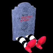 Rare Discontinued Funny WICKED WITCH of the East TOMBSTONE with Inflatable LEGS Halloween Haunted House Yard Prop Building Party Decoration Grave Marker - Falling House Market Victim - Wizard of Oz Character Theme Villain