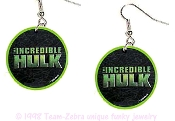 The INCREDIBLE HULK LOGO EARRINGS - Funky HUGE Retro Movie Comics Cartoon Halloween Novelty Charm Costume Jewelry - You can be a Super-Hero wearing these big, funky collectible dangle charms.
