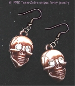 Funky Realistic Rhinestone SKULL EARRINGS - Headhunter Witch Doctor Halloween Pirate Charm Halloween Novelty Costume Jewelry