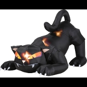 Gemmy Animated AIRBLOWN INFLATABLE LIGHT-UP SCARY BLACK CAT with TURNING HEAD Spooky Halloween Witch Theme Lawn Yard Garden Lighted Display Spooky Haunted House Prop Indoor Outdoor Cemetery Graveyard Costume Party Decoration-SIX FEET Long