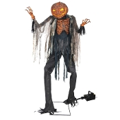 Huge Creepy Giant Life Size Animated SCORCHED SCARECROW with FOG Lights Spooky Sound Effect Deluxe Animatronics Monster Demon Scary Halloween Haunted House Prop Decoration-7-FT TALL-Terrifying Flickering Light-Up Jack O' Lantern Pumpkin Head-VIDEO