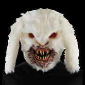 Creepy Realistic Horror UNDEAD RABID KILLER BUNNY RABBIT FACE MASK Halloween Decoration Cosplay Costume Accessory White Fake Fur Scary ZOMBIE Monster Haunted House Prop. Elastic Strap on Back. Kids will never look at the Easter bunny the same again!