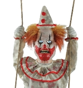 Deluxe Scary Hanging Animated Laughing-SWINGING HAPPY CLOWN DOLL-Glowing Eyes Spooky Sound Effects Motion Activated Creepy Halloween Haunted House Horror Prop Decoration. Have a 3-ring fright fest with this maniacal homicidal Circus Carnival Doll!