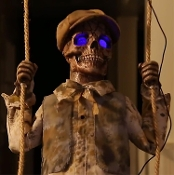animated talking swinging skeleton boy doll scary halloween prop