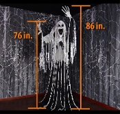 Standing Life Size Animated TOWERING WAILING SOUL Scary Phantom Spirit Gothic Ghost Halloween Creepy Haunted House Prop Decoration-Spooky Sounds-Scary Lighted Rotating Torso-Strobing Face-Moving Arms-Wailing shrieks will chill even the bravest souls!