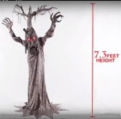 New Standing Life Size Talking Animated DEADWOOD HAUNTED TREE-Oz inspired-Scary Forest Woods Haunting Spirit Halloween Creepy Haunted House Animatronics Prop Decoration-Spooky Sounds-Scary Lighted Eyes-Rotating Torso-Step Here Pad-MOVING MOUTH-Video