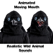 BLACK BIRD CROW RAVEN ANIMATED WILD ANIMAL MASK Moving Mouth Movable Jaw with Push Button Activated Realistic Sound Effects Faux Fur Fake Feathers Furry Furries Fandom ADULT Full Over Head Fancy Dress Halloween Cosplay Costume Party Accessory-VIDEO!