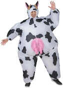 Hilarious Funny COMICAL COW INFLATABLE FULL BODY COSTUME Bovine Farm Animal with Utters-Hysterical Airblown Gag Halloween Cosplay Easy Fun Instant Cosplay Costume Parade Party Entertainer Mascot-Unisex ONE SIZE ADULT with Self Inflation Fan.