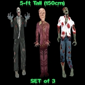 THREE-PIECE SET Jointed Cutout Creepy LIFE SIZE ZOMBIES Door Decorations Wall Hangings Spooky Halloween Haunted House Props Scene Setters - Three Different Scary Walking Dead inspired Sectioned Fold-Outs Cardboard Paper Pictures Each FIVE-FEET TALL