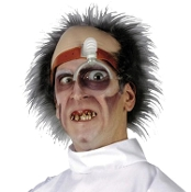 Funny Deranged DR KILLER DRILLER WIG HEAD PIECE Topper Headpiece with Novelty Magnifier Magnifying Eye Piece Comical Gag Creepy Mad Doctor Scientist Dentist Halloween Insane Asylum Patient Haunted House Character Horror Cosplay Costume Accessory