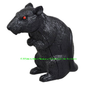 New Motion Sensor Squeaking Sounds SPOOKY MINI RAT Motion Sensing Squealing Plastic Black Rodent with Scary Red Eyes Standing Ornament Creepy Halloween Haunted House Prop Fall Harvest Autumn Thanksgiving Crafts Decoration