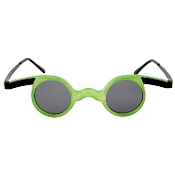 Funky Green Frosted Translucent MAD SCIENTIST GLASSES Steampunk Style Crazy Strange Goggle inspired Specs. Time Traveler Apocalypse Novelty Cosplay Costume Accessory. Wacky accessory for nerd, geek, mad doctor, zombie apocalypse or mad doctor.