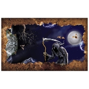 Scary Grim Reaper OPEN GRAVE INSTA-VIEW Ceiling Wall Unique Creepy Halloween Haunted House Spooky Cemetery Graveyard Horror Theme Prop Decoration