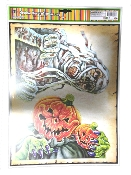 2-pc SKELETON MUMMY and PUMPKIN HEAD JACK-O-LANTERN-Scary Gothic Horror Prop CREEPY WINDOW CLING Glass Door Décor Mirror Decal Refrigerator Sticker Toilet Tattoo Party Room Haunted House Halloween Decoration Joke Prank Gag Gift