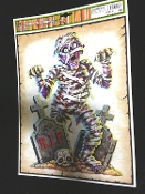 MUMMY TOMBSTONE CEMETERY GRAVEYARD MONSTER-Scary Gothic Horror Prop CREEPY WINDOW CLING Glass Door Decor Mirror Decal Refrigerator Sticker Toilet Tattoo Party Room Haunted House Halloween Decoration Joke Prank Gag Gift