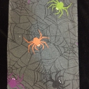 Halloween Theme Gothic Spooky Spiderweb Scene - DISH CLOTH HAND TEA TOWEL - Kitchen Dining Bar Costume Party Display Hostess Gift - Gray Black Purple Orange Green - Scary Horror Haunted House Spiders with Web Printed Decoration - One-piece