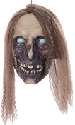 Meet Life Size Animated Undead Cathy, she won't bite…or will she? She wants BRAINS! Hanging severed female zombie human skull head has realistic decomposing sculptural detail. Sound activated light-up eyes, moving mouth, creepy hungry growling noise.
