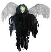 3' HANGING BLACK WINGED REAPER Color Change Light Halloween Prop