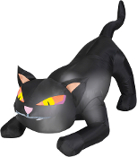 4Ft Inflatable CROUCHING BLACK CAT w-Lights Halloween Yard Decor