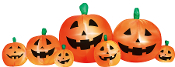Bring a little frightful fun to your lawn this Halloween with your very own light-up INFLATABLE PUMPKIN PATCHYard Decor! Indoor and outdoor use. 7 airblown pumpkins are attached for an 8-foot long inflatable.