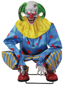 ANIMATED CROUCHING BLUE CLOWN Monster Laugh Carnival Music Prop