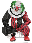 ANIMATED CROUCHING RED CLOWN Scary Laugh LED Carnival Sound Prop