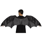 Black Vinyl DRAGON WINGS ADULT Halloween Costume Prop Accessory - A great accessory for any fantasy-based costume or character. Deluxe black vinyl wings. Leather look, approx. 32-inch high x 5 feet wide. Wings are made with flexible metal rods.