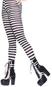 BLACK WHITE STRIPED TIGHTS Adult Women Cosplay Costume Pantyhose