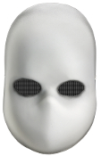 BLANK BLACK EYES DOLL MASK Eerie Halloween Cosplay Costume Accessory - Creepy white mask with mesh black eyes no mouth, gray shading at edges for added fear emphasis. Full Front Face mask, made of pvc with elastic string.