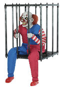 Creepy ANIMATED CAGED CLOWN WALK AROUND Costume Prop Accessory