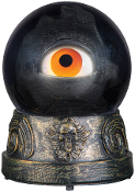 Creepy ANIMATED EYEBALL CRYSTAL BALL Witch Fortune Teller Prop