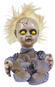 BLONDE CREEPY HAUNTED DOLL ANIMATED Kicking Screaming Baby Boy Brat Halloween Prop Decoration Scary baby boy doll is having a temper tantrum, with arms and legs kicking, and lots of crying!