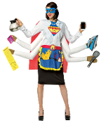 Funny Women's SUPER MOM INSTANT COSTUME Adult Shirt Accessory