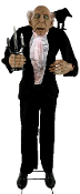 Life Size ANIMATED TALKING BUTLER w-Crow w-Light-Up Candelabra