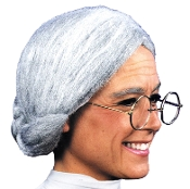 Grandma Old Lady silver grey costume wig with a low bun at the nape. Perfect touch for any granny... Psycho Mother never looked this good! Made of a synthetic fiber cottony material, comes in a poly-bag with insert card. One size fits most Adults.