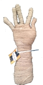 Need a HAND (hee-hee) for pointing the way to your Haunted House? ONE Adult Life Size Poseable Aged Gauze Wrapped Mummy Hand Halloween Haunted House Groundbreaker Table Top Yard Prop Decoration with Bendable Fingers. Assorted beige or grey colors.