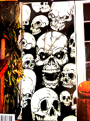 Gothic Human Skeleton SKULLS DOOR POSTER Dungeon Entry Wall Hanging Window Mural or Table Cover Halloween Horror Haunted House Cemetery Graveyard Medieval Castle Decor Birthday Pirate Theme Cosplay Costume Party Prop Building Decoration