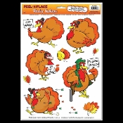 Funny WACKY TURKEYS Peel 'N Place Removable Wall Clings Window Decals Thanksgiving Christmas Holiday Bathroom Wall Hanging Birthday Party Decoration Locker Halloween Prop Decor. Whimsical gag cartoon holiday birds party banquet event decoration!