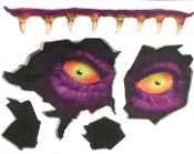 Creepy Gothic Horror TOILET MONSTER CRAPPER CREATURE STICKER CLING Scary Yellow Eyes with Monstrous Fangs-Spooky Wall Floor Ceiling Door Window Halloween Haunted House Prop Party Decoration Locker Bathroom Refrigerator Appliance-Sticky Grabber Sheet