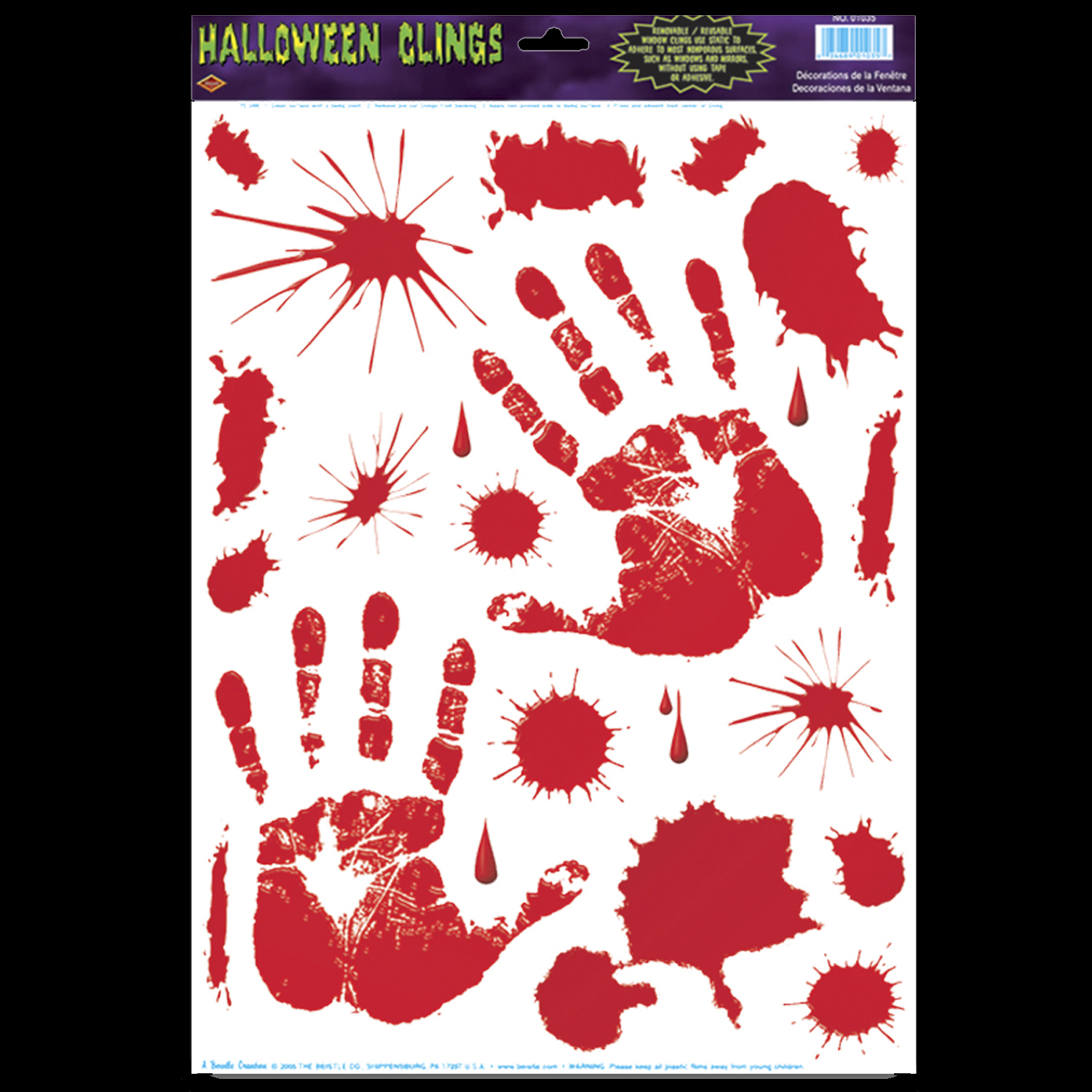 1-PAIR-Realistic LIFE SIZE BLOODY GEL HAND PRINT-Cling Sticker Horror Decoration