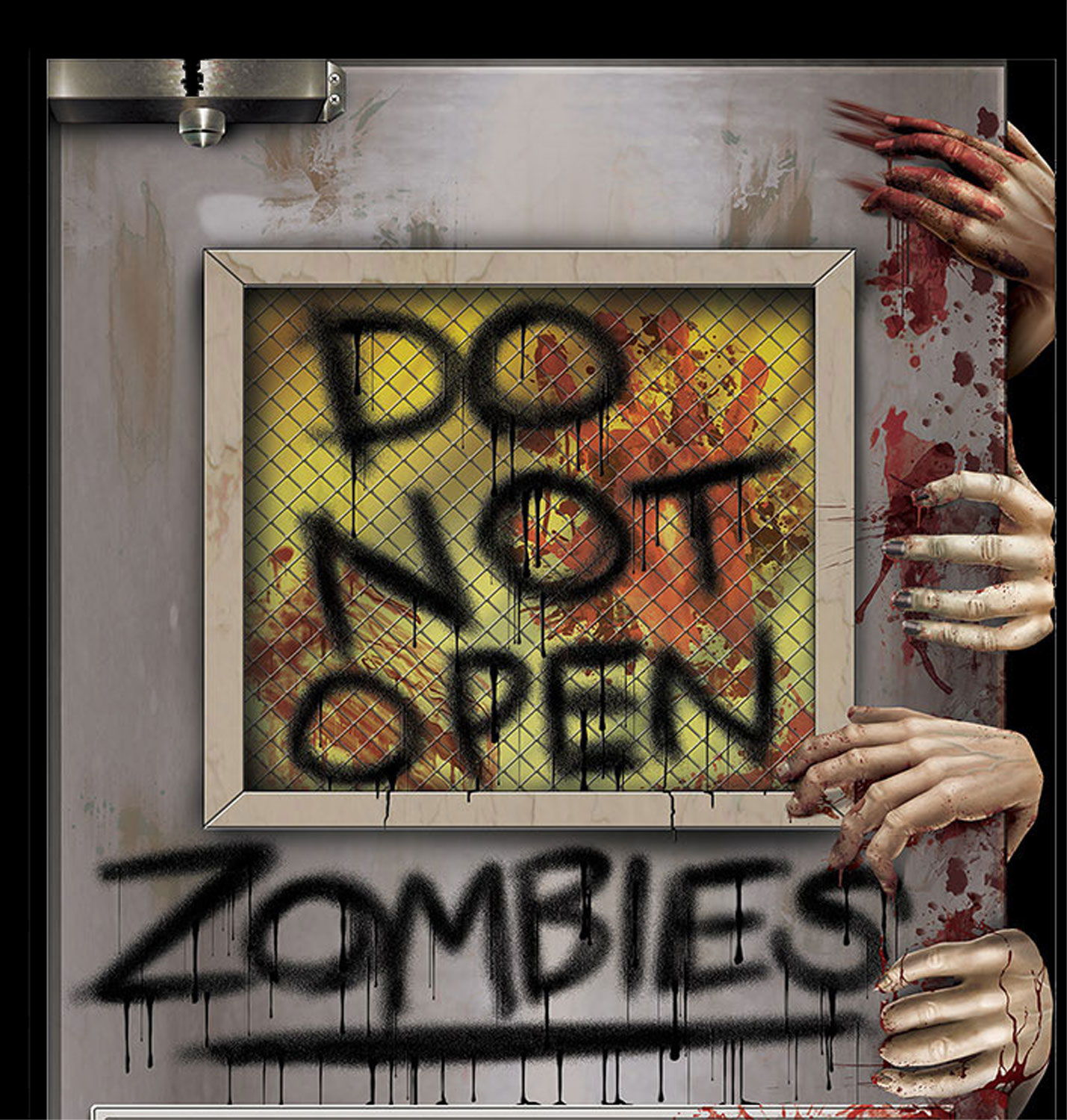 do not open zombie laboratory door cover horror prop